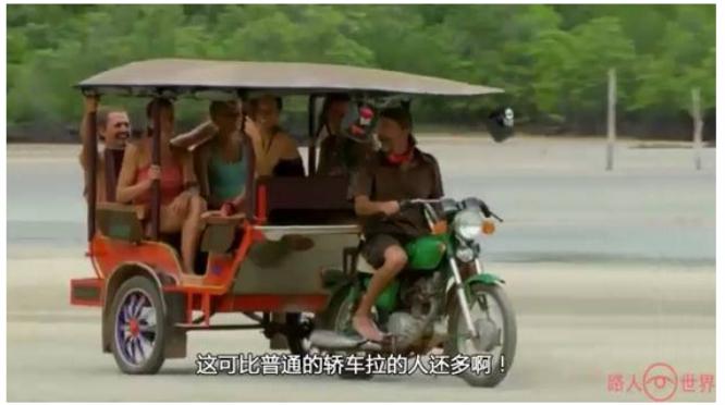 柬埔寨最奇葩的交通工具,用摩托车改装,一车可以拉6个人